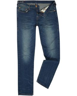 Geno Dusty Rider Mid Wash Tapered Jeans