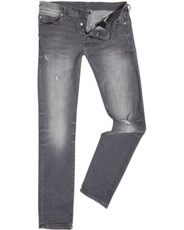 Rocco Comfort Ripped Grey Slim Fit Jeans
