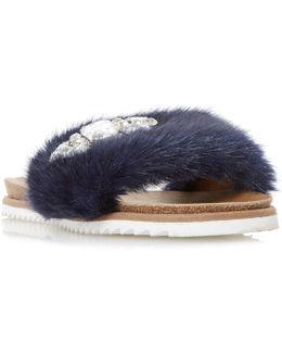 Lyra Faux Fur Gem Slider Sandals