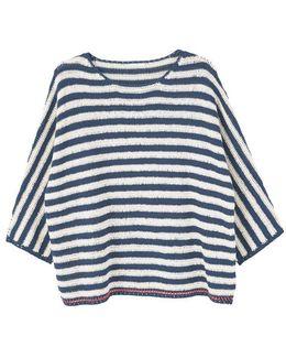 Striped Open-work Sweater