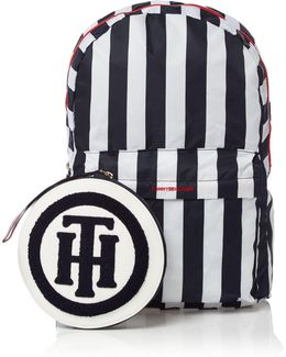 Foldaway Logo Stripe Backpack