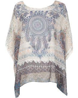 Short Sleeve Boho Printed Blouse Top