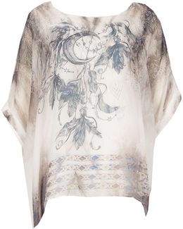 Round Neck Floral Print Blouse Top