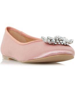 Hiya Brooch Trim Ballerina Flat Shoe