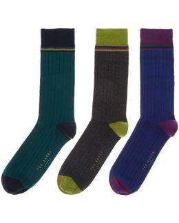 3 Pack Striped Socks Gift Set