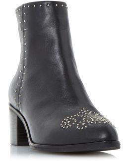 Queenie Pin Stud Block Heel Ankle Boots