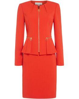 Peplum Zip Skirt Suit