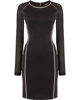 Devyn Long Sleeve Scuba Dress With Mesh Detail