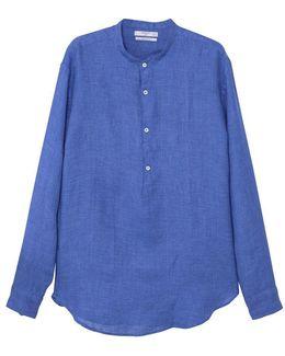 Men's Regular-fit Mao Collar Linen Shirt