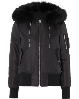 Olena Hooded Bomber Jacket With Faux Fur Trim