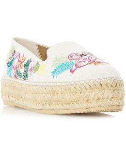 Glamour Embroidered Flatform Espadrille Loafer