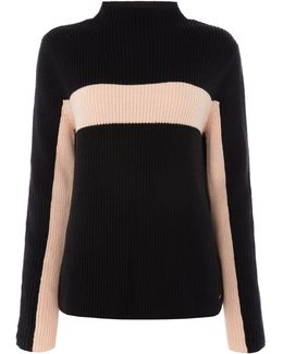 Long Sleeve Contrast Stripe Ribben Jumper