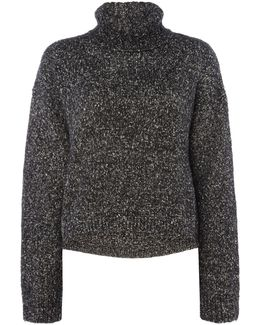 Long Sleeve Roll Neck Flecked Jumper