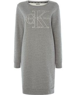 Long Sleeve Crew Neck Logo Sweatshirt Dress
