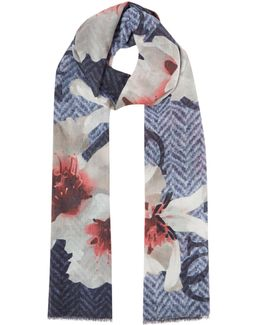 Floral And Logo Print Long Scarf