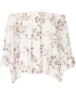 Floral Print Bell Sleeve Bardot Top