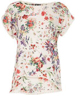 Short Sleeve Floral Print Blouse Top