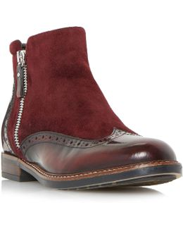 Pandalla Mix Material Side Zip Boots