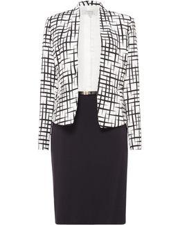 Monochrome Print Skirt Suit