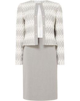 Elegant Jacquard Skirt Suit