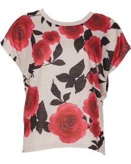 Rose Print Batwing Top