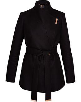 Keyla Short Wrap Cashmere-blend Coat