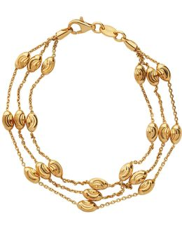 Essentials Gold Beaded 3 Row Bracelet