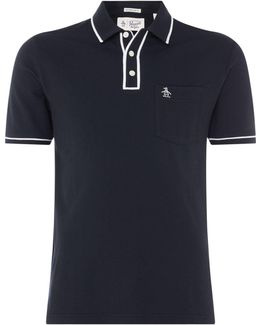 Earl Pique Polo Slim Fit Tipped Logo In Black