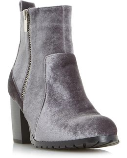 Pippaa Cleated Velvet Ankle Boots