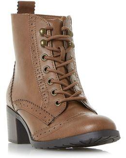 Pandoraa Brogue Low Block Ankle Boots