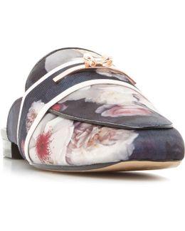 Dorline Printed Satin Backless Sandals