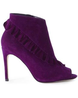 Suede Frill Shoe Boots - Purple