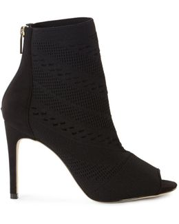 Knitted Peep-toe Shoe Boots - Black