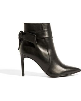 Wrap-tie Leather Ankle Boots