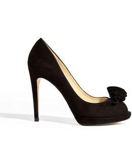 Leather Frill Peep-toe Heels - Black