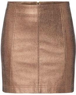 New Modern Faux Leather Metalic Mini Skirt