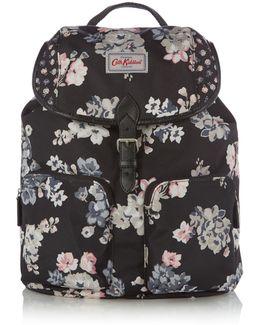 Scattered Woodstock Print Duffle Backpack