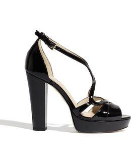 Suede Cross Platform Sandals - Black