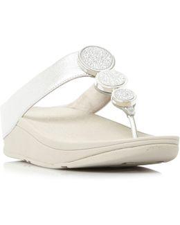 Halo Metal Trim Toepost Wedge Sandals
