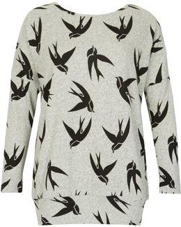 Bird Print Knit Top