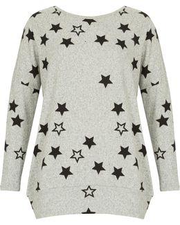 Star Print Knit Top