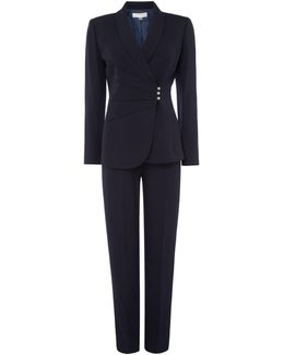 Navy Side Draped Trouser Suit