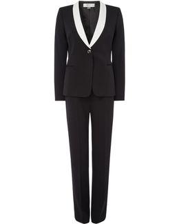 Elegant Contrast-collar Trousers Suit
