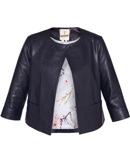 Rennay Leather Collarless Jacket