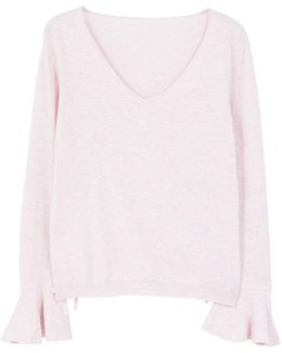 Flared Sleeve Cotton Blend Jumper