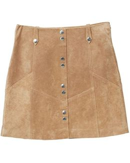 Snap Leather Skirt