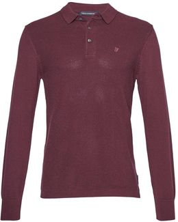 Men's Textured Knit Long Sleeved Polo Shirt