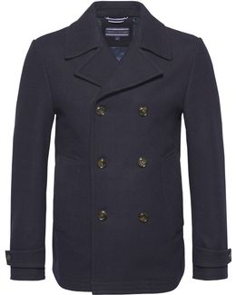 Men's Tartan Lined Double Breasted Peacoat