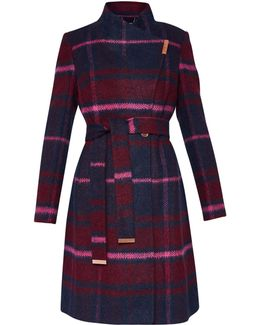 Fredye Check Long Wrap Coat