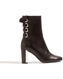 Leather Eyelet Ankle Boots - Black